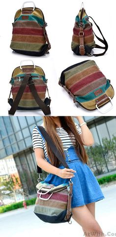 c125a89869 Retro School Multifunction Backpacks Shoulder Bag Handbag Splicing Colorful  Striped Canvas Backpack for big sale!