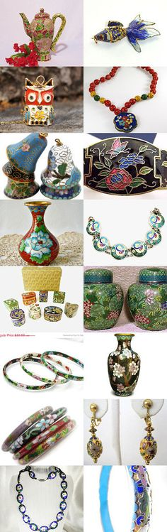 """Colorful Cloisonne"" #VogueTeam Shop of the Day Treasury. Celebrating our shop of the day from the Vintage Vogue team, BeanzVintiques!  Curator: CAROLYN O'BAYLEY  from https://www.etsy.com/shop/COBAYLEY"