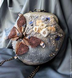 """Купить сумочка """"Сон Бабочки"""" - серый, бабочка, винтажный стиль, вышивка, коричневый, букет"""
