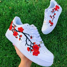 Red Cherry Blossom Each individual pair is handcrafted to orderCherry Blossom is Stitched to Perfection!Brand new with boxFinal Sale. Non refundable/ No Exchanges.Turn around time weeks Shipping Time(subject to change without notice depending on order. Jordan Shoes Girls, Girls Shoes, Cute Girl Shoes, Shoes Women, White Nike Shoes, Vans Shoes, Souliers Nike, Nike Shoes Air Force, Air Force Sneakers