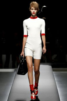 Prada SS13      grandma chic,  the models wore stark red lips and hair swept over their foreheads —  the collection is the standout of the season so far.  satin, flower, feminity,