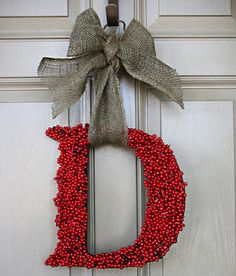 Monogram holly berry Christmas wreath