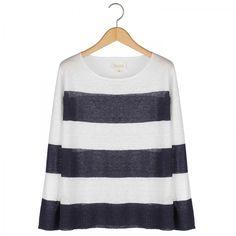 Nili Lotan Linen Striped Boyfriend Sweater #huzza