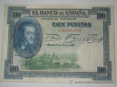 billete 100 pesetas 1 julio 1925 muy raro con el sello de la republica serie C mbc
