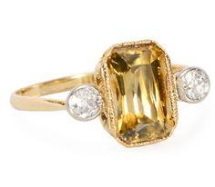 Edwardian Natural Zircon Diamond Ring - The Three Graces