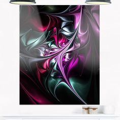 Multicolo Abstract Floral Shapes - Floral Glossy Metal Wall Art