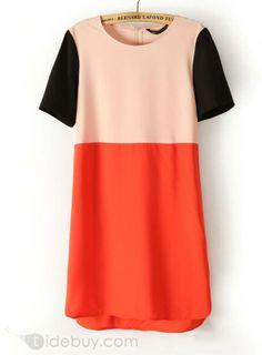 Simple Stylish Loose Assorted Colors Round Neckline Chiffon Dress, Dress