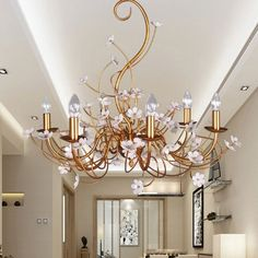 463.60$  Watch here - http://alilab.worldwells.pw/go.php?t=32399842497 - Home Chandeliers Lights Fixture American Country Pastoral Gold Flower Pendant Lamps Foyer Indoor Lighting AC110V 220V D70cm