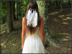 White Clip in feather veil headband native by dieselboutique