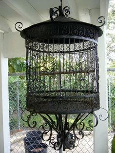 RESERVED FOR CATHERINE//////////////Vintage Metal Birdcage Black with a Large Door for a Large Bird