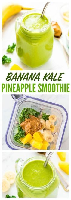 Banana Kale Pineapple Smoothie — the BEST, most delicious green smoothie! Packed with protein, it keeps you full, so it's great for weightloss or detox. Easy, healthy, and even kids love it! Recipe at http://wellplated.com | /wellplated/