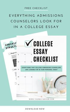 Having trouble starting your college essay? This checklist will help! Use the 12 elements that every college essay should have to reverse-engineer your own and get started on your application essays today! High School Life, After High School, Dream School, Best College Essays, College Tips, College Admission Essay, College Application Essay, Essay Tips, Online Tutoring