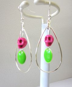 Sugar Skull Earrings Day of the Dead Hot Pink by sweetie2sweetie, $10.99