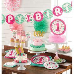Notre collection premier anniversaire fille en rose et vert mint sur la boutique