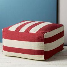 Graduated Stripe Pouf www.westelm.com #pouf #red #white #stripe