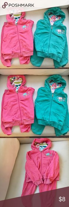 🎀Lot of 2🎀Truly Scrumptous Hooded Jacket+Pants 🎀Lot of 2🎀Truly Scrumptous by Heidi Klum Hooded Sweatshirt + Matching Capri Pants.  This very light weight jacket + capris are perfect for your active little girl! Good condition, pre-owned.  Cute bright colors: pink & aqua! Size 2T. Truly Scrumptous by Heidi Klum Matching Sets
