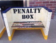 Hockey Room - Penalty Box from old hockey sticks! Hockey Man Cave, Hockey Mom, Hockey Stuff, Boys Hockey Room, Stars Hockey, Hockey Crafts, Hockey Decor, Man Cave Diy, Man Cave Home Bar