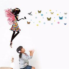 Iuhan Fashion Butterfly Girl Removable Decor Environmentally Mural Wall Stickers Decal *** You can get more details by clicking on the image. Butterfly Wall Stickers, Wall Stickers Murals, Nursery Wall Decals, Vinyl Wall Art, Wall Murals, Sticker Vinyl, 3d Wall, Rooms Home Decor, Diy Room Decor