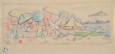 Moses Levy - Spiaggia - Pastello su carta - cm. 10,3x21