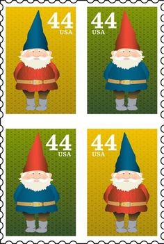 Gnome on stamps Elves And Fairies, Gnome House, Gnome Garden, Stamp Collecting, Mail Art, Faeries, Postage Stamps, Scandinavian, Creations