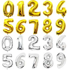 16 GOLD foil mylar numbers. Birthday number by thehappyelfshop
