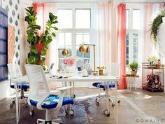 girlboss emily henderson office with pink drapes