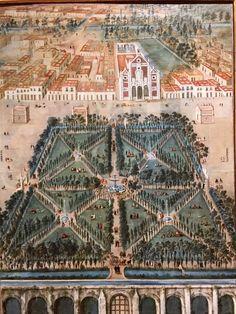 La alameda tal y como lucía en la primera mitad del siglo XVIII, al fondo podemos ver el convento de Capuchinas de Corpus Christi.