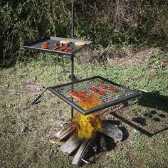 Titan Campfire Adjustable Swivel Grill Fire Pit Cooking Grate Griddle Plate BBQ for sale online Campfire Cooking Grate, Fire Pit Cooking, Wood Burning Heaters, Wood Burning Fires, Backyard Fireplace, Fire Pit Backyard, Cowboy Fire Pit, Camping Bbq, Campsite