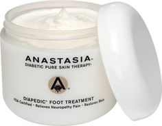 Anastasia Diabetic foot cream and hand cream are made specifically for diabetics. The foot cream is the only cream safe for diabetics to use between the toes, because it contains no water.