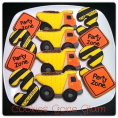 Construction cookies. Truck cookies. Cookies gone glam