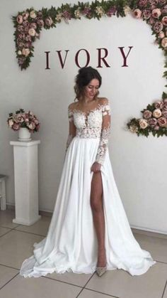 Simple A Line V Neck Open Back Long Sleeves Lace Wedding Dresses with Split , - New ideas Colored Wedding Dresses, Dream Wedding Dresses, Bridal Dresses, Wedding Gowns, Lace Weddings, Wedding Wishes, Wedding Attire, Dream Dress, Marie