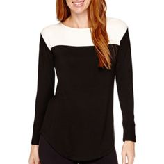 This faux bustier color blocking is big this season. Liz Claiborne® Weekend Long-Sleeve Boatneck Colorblock Tunic  found at @JCPenney