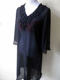 sheer black ruffled tunic top or cover up by VintageHomage on Etsy, $15.00