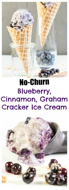 NO Churn Blueberry, Cinnamon & Graham Cracker Swirl Ice Cream
