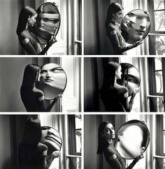artnet Galleries: Dr. Heisenberg's Mirror of Uncertainty by Duane Michals from Galerie Clara Maria Sels