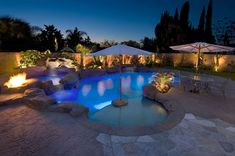 Splash Pools & Construction offers custom rock pool designs to create a backyard oasis. Outdoor Pool, Outdoor Spaces, Outdoor Living, Spa Lighting, Cool Lighting, Swimming Pool Lights, Swimming Pools, Pool Porch, Pool Construction