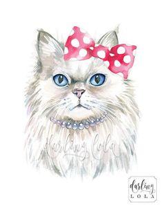 Cat Watercolor Print - Persian Cat - Princess Cat - Cat Art - Hipster - Animal Art - Nursery Art - Cat Painting - 猫 - Watercolor Cat, Watercolor Illustration, Cat Art Print, Cat Drawing, Nursery Art, Cool Cats, Animal Drawings, Pet Portraits, Art Prints