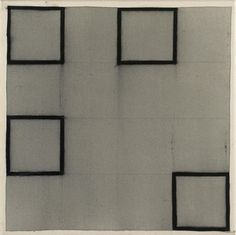 Richard Allen / Four Squares II, 1980    ENC9, charcoal and cellulose acitate on canvas, 51cm x 51cm (total size) 48cm x 48cm (image size)  http://richard-allen-artist.com/painting.php?p=25=1
