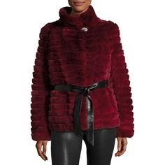 Gorski Reversible Down & Fur Belted Puffer Coat ($2,096) ❤ liked on Polyvore featuring outerwear, coats, wine, reversible fur coat, reversible leather belt, fur coat, fur lined coat and puff coat