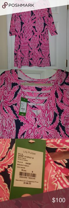 SM NWT Lilly Pultizer Coco Safari Ophelia Dress Beautiful navy and pink pineapple print Lilly Pultizer 3/4 length sleeve dress. Wish it fit. New with tags. Lilly Pulitzer Dresses