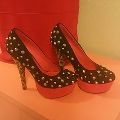Hot heels sexy stilettos! Black with gold spikes and studs Red platform and leopard print heel  Worn 2-3 times. All spikes and studs intact. Heel height 6 inches Platform height 1 3/4 inch frh Shoes Heels
