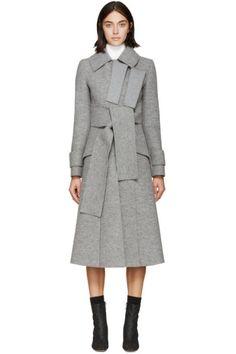 Proenza Schouler for Women Collection Wool Tie, Wrap Coat, Proenza Schouler, Coats For Women, Cashmere, Designer Jackets, Designer Coats, Grey, How To Wear