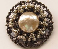 Vintage Signed Miriam Haskell Baroque Pearl Brooch Pin Gorgeous | eBay