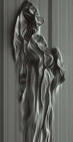 This disruptive feature in the artwork shows an increase in variety. There are straight, unified lines with a chaotic movement at the center. Arte Linear, Instalation Art, Abstract Line Art, Generative Art, 3d Prints, Art Moderne, Grafik Design, Texture Art, Op Art