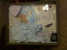 Shadow box with hospital memories of baby birth, coming home outfit and newborn pic:)