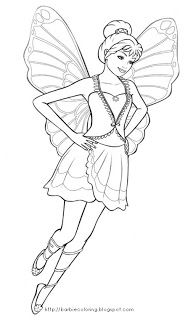 Barbie Mariposa Coloring Pages For Kids