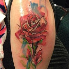 Watercolor Pink Rose Tattoo Watercolor rose tattootattoo