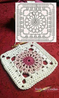 Transcendent Crochet a Solid Granny Square Ideas. Inconceivable Crochet a Solid Granny Square Ideas. Crochet Squares, Point Granny Au Crochet, Crochet Motifs, Granny Square Crochet Pattern, Crochet Blocks, Crochet Diagram, Crochet Chart, Granny Squares, Plaid Crochet