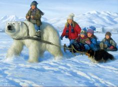 Visitor from Up North Art Print by Robert Duncan, Snow Scenes, Kids Riding Polar Bear, Sled, Winter Winter Painting, Winter Art, Winter Holiday, Robert Duncan Art, Photo 3d, Wall Art Pictures, Winter Scenes, Snow Scenes, American Artists