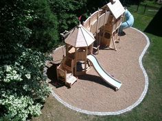 borders for pea gravel | Wooden playset with pea gravel and border